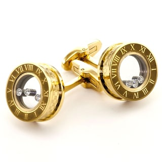 James Cavolini Golden Stainless Steel and Cubic Zirconia Cuff Links