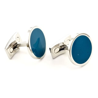 James Cavolini Stainless Steel Royal Blue Round Cuff Links