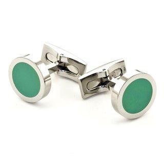 James Cavolini Stainless Steel Turquiose Green Round Cuff Links