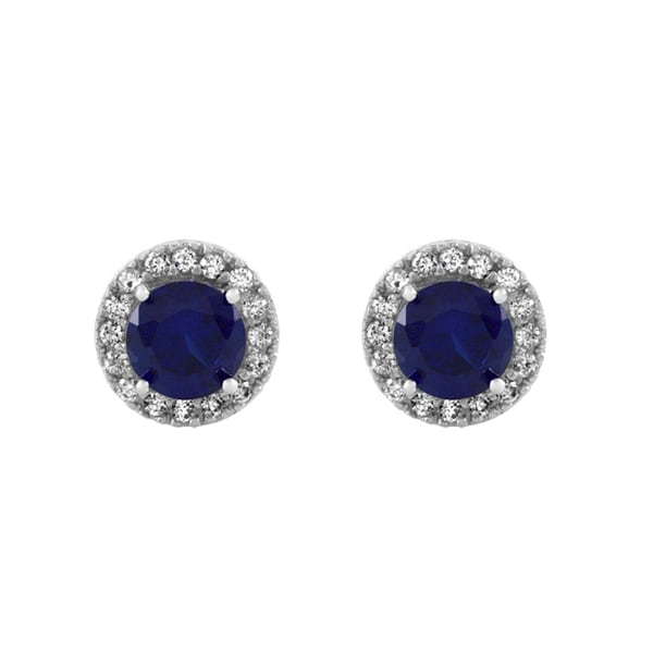 Blue and Clear CZ Stud Earrings