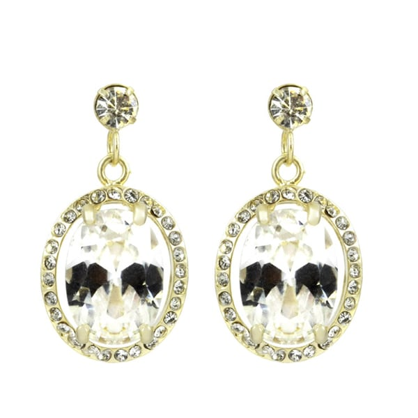 Oval Rhinestone Dangle Earrings
