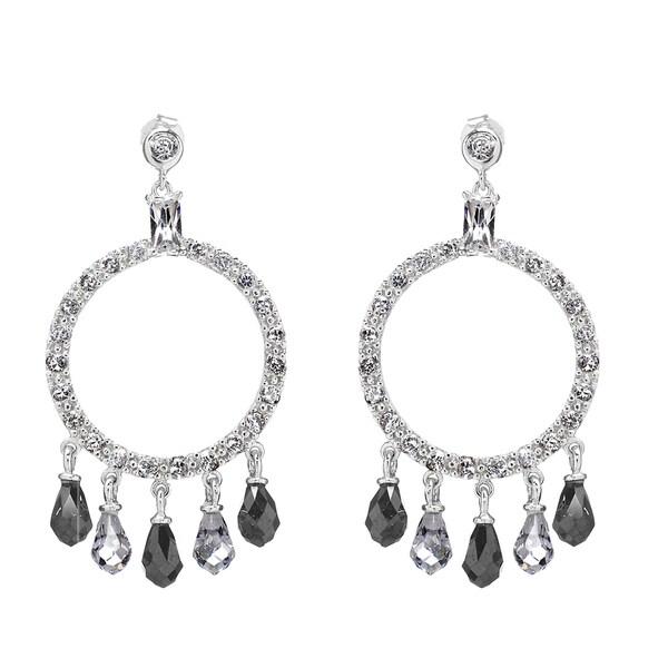 Black & White CZ Circle Chandelier Earrings