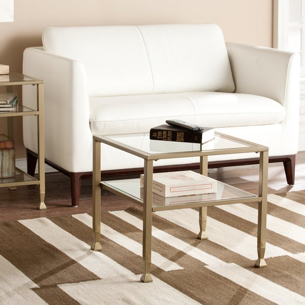 Upton Home Matte Gold Metal Glass Bunching Coffee Cocktail Table 17525178
