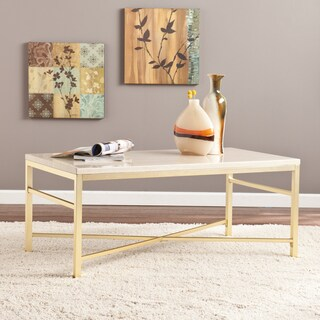 Upton Home Ogden Travertine Faux Stone Coffee/ Cocktail Table