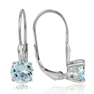 Glitzy Rocks Sterling Silver 1.6ct TGW Aquamarine Leverback Earrings