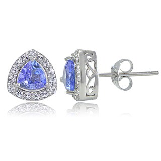Glitzy Rocks Sterling Silver Tanzanite and White Topaz Trillion-Cut Stud Earrings