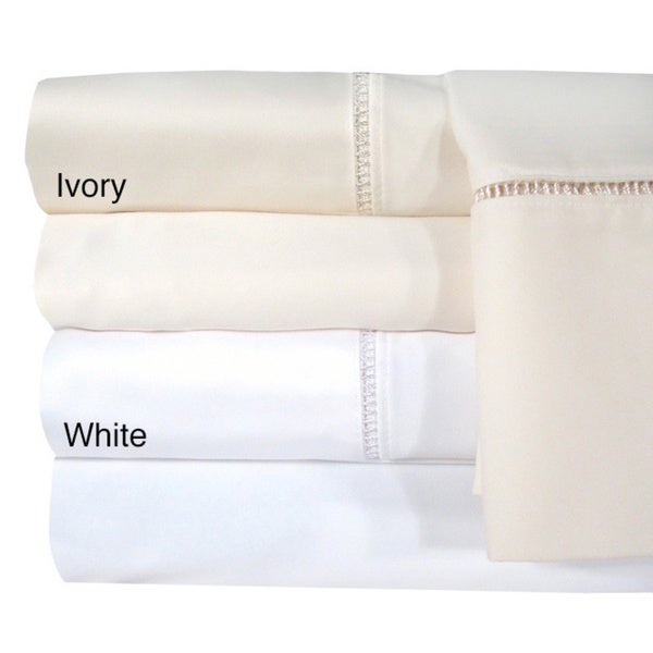 Veratex Egyptian Cotton Linford Hemstitch 1200 Thread Count Cal-King Fitted Sheet in White (As Is Item)
