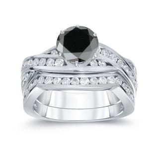 Auriya 14k White Gold 2ct TDW Round Cut Black Diamond Bridal Ring Set (Black, SI2-SI3)