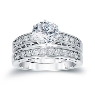 Auriya 14k White Gold 1ct TDW Round Diamond Bridal Ring Set (H-I, SI2-SI3)
