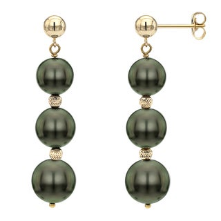 DaVonna 14k Yellow Gold Black Tahitian Pearl and Beads Dangle Earring