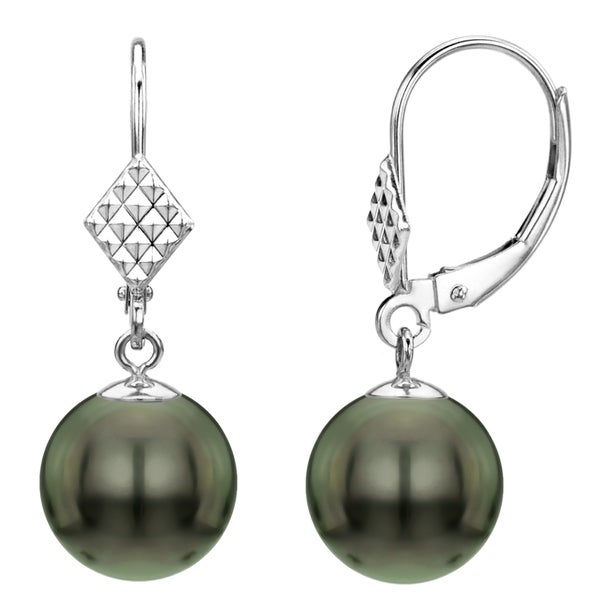 DaVonna 14k White Gold Round Black Tahitian Pearl Dangle Earring (9-10mm)