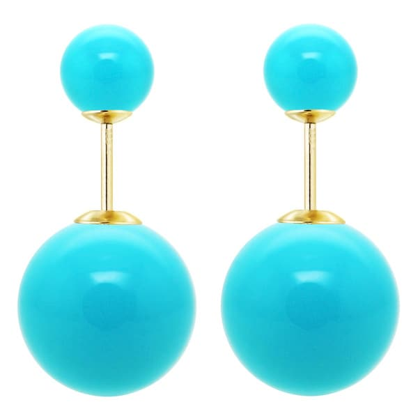 DaVonna 14k Yellow Gold Shell Pearl Front and Back Stud Earring (16mm, 8mm)