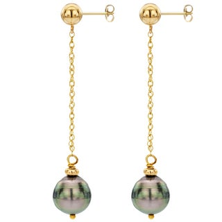 DaVonna 14k Yellow Gold Black Tahitian Pearl and Chain Dangle Earring