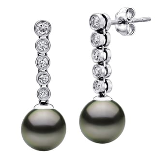 DaVonna 14k White Gold Black Tahitian Pearl and 0.40ct Diamonds Dangle Earring