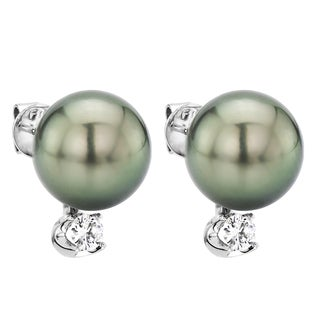 DaVonna 14k White Gold Black Tahitian Pearl and 0.20ct Diamond Stud Earring
