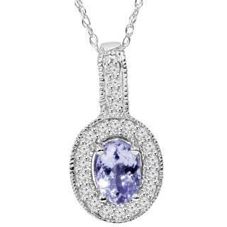 Bliss 10k White Gold .90 CT Tanzanite and Diamond Vintage Milgrain Halo Pendant Necklace (I/J, I2-I3)