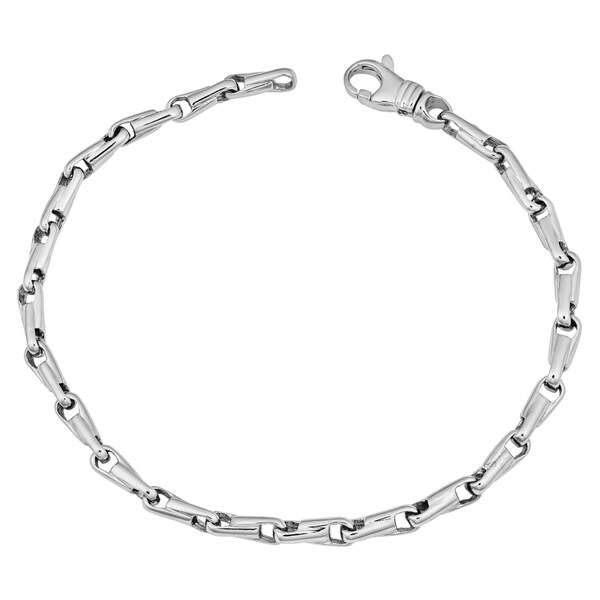 Fremada 14k White Gold Bullet Link Bracelet (8 inches)