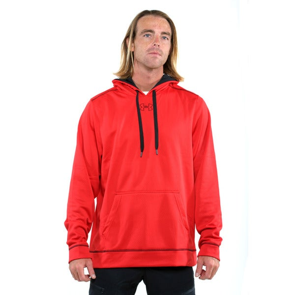 Under Armour Red Men's Coldgear Tech Fleece Pullover Hoodie