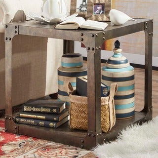 TRIBECCA HOME Galena Industrial Modern Rustic Iron Storage Occasional Table