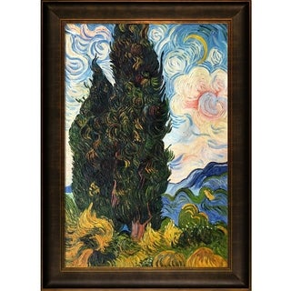 Vincent Van Gogh 'Two Cypresses' Hand Painted Framed Canvas Art