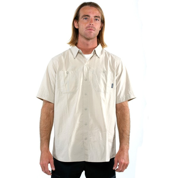 Columbia Men's Beige Corktown Solid Short Sleeve UV Fishing Shirt