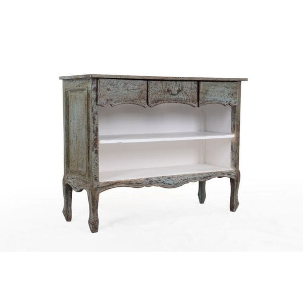 Golden Vintage Antique White Solid Mahogany Console
