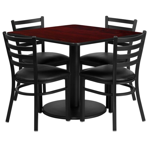 36-inch Square Mahogany Laminate Table Set with Four (4) Black Vinyl Seat Ladder Back Metal Chairs 15985950