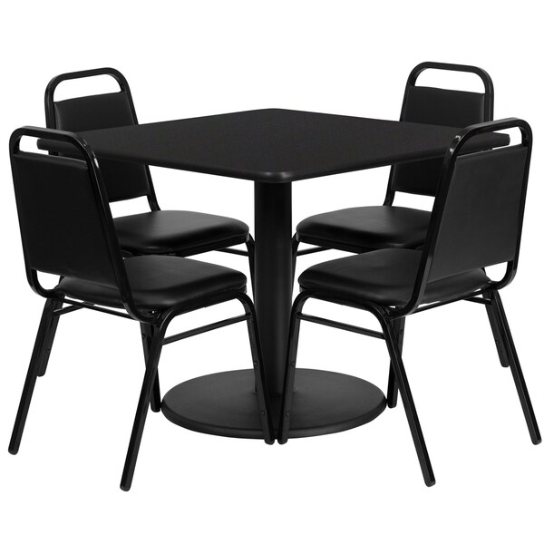 36-inch Square Black Laminate Table Set with Four (4) Black Trapezoidal Back Banquet Chairs