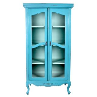 Elizabeth Antique Tosca Blue Distressed Display Cabinet With Glass Doors
