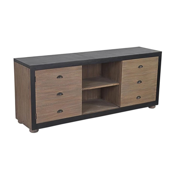 Brookside Traditional Antique Black TV Media Cabinet with doors