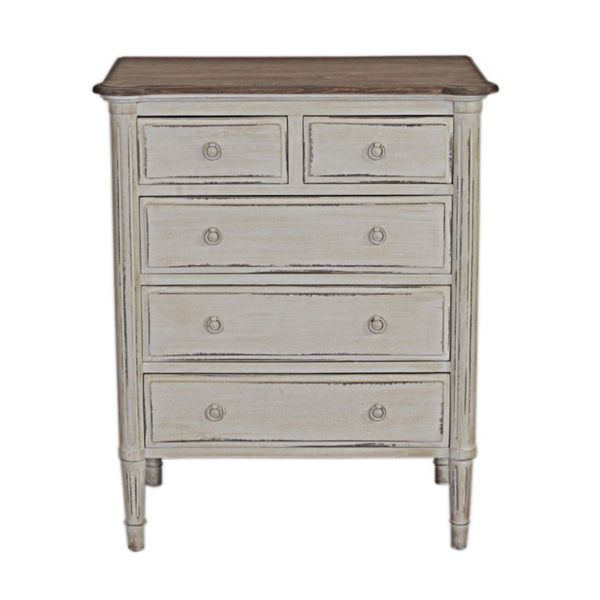 Evans Rustic Antique White Chest of Drawers