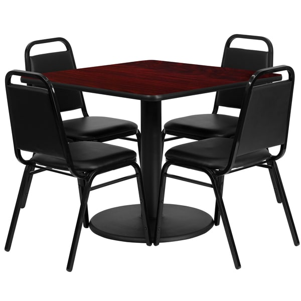 36-inch Square Mahogany Laminate Table Set with Four (4) Black Trapezoidal Back Banquet Chairs 15986040