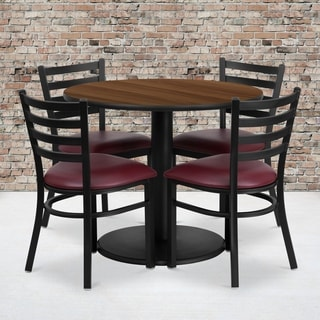 36-inch Round Walnut Laminate Table Set with Four (4) Burgundy Vinyl Seat Ladder Back Metal Chairs