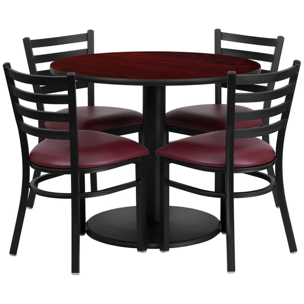 36-inch Round Mahogany Laminate Table Set with Four (4) Burgundy Vinyl Seat Ladder Back Metal Chairs 15986126