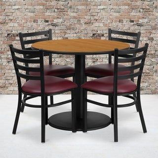36-inch Round Natural Laminate Table Set with Four (4) Burgundy Vinyl Seat Ladder Back Metal Chairs