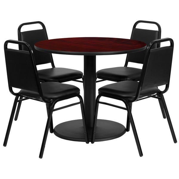 36-inch Round Mahogany Laminate Table Set with Four (4) Black Trapezoidal Back Banquet Chairs 15986139