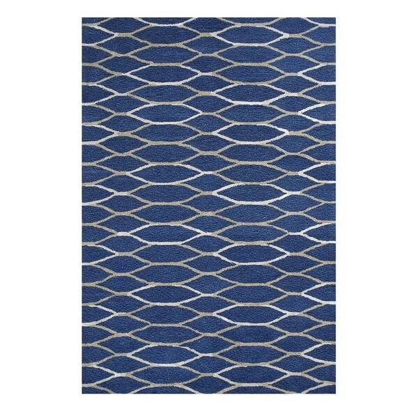 Hand-Tufted Contemporary Navy Blue/Classic Grey Wool/Viscose (5x8) Area Rug