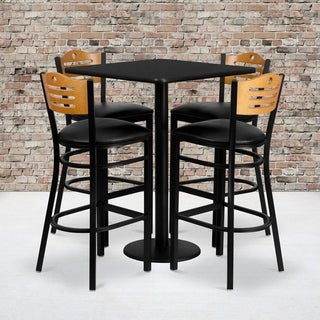 30-inch Square Black Laminate Table Set with Four (4) Black Vinyl Seat Wood Slat Back Metal Bar Stools