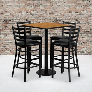 30-inch Square Natural Laminate Table Set with Four (4) Black Vinyl Seat Ladder Back Metal Bar Stools