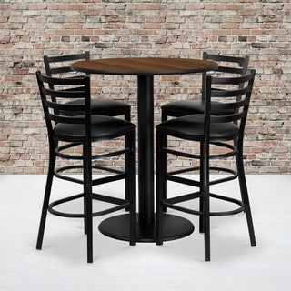 36-inch Round Walnut Laminate Table Set with Four (4) Black Vinyl Seat Ladder Back Metal Bar Stools