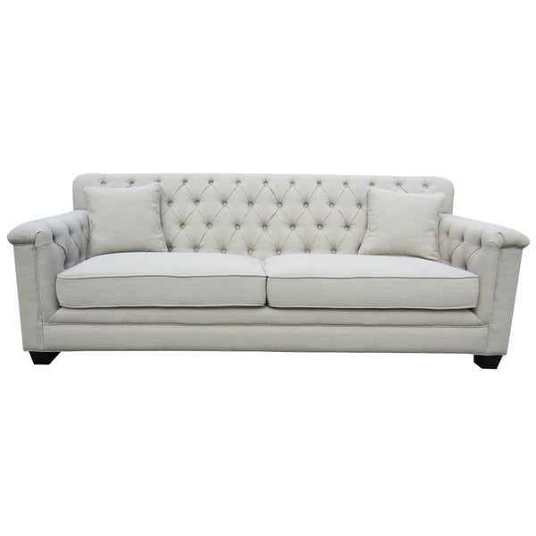 Sand 3-seater Upholstered Tufted Back Sofa
