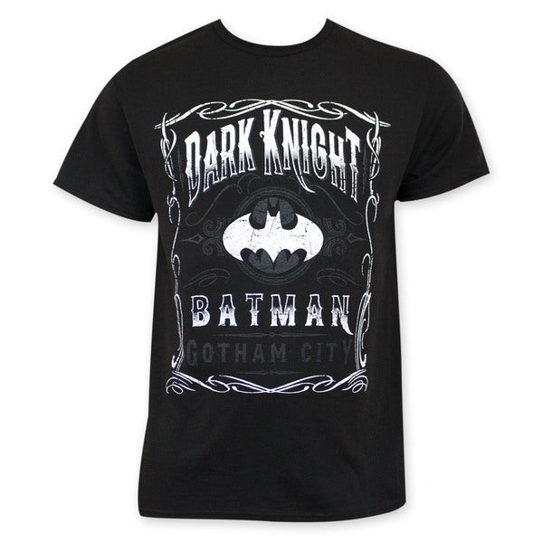Batman Dark Knight Gotham City Jack Daniels Style Tee Shirt
