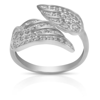 Dolce Giavonna Sterling Silver Black or White Cubic Zirconia Angel Wing Wrap Ring