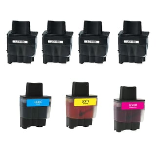 Brother 4 LC41BK 1 LC41M 1 LC41C 1 LC41Y Compatible Inkjet Cartridge For FAX1840C 1940CN 2440C (Pack of 7)