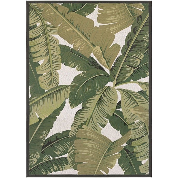 Couristan Dolce Palm Lily/ Hunter Green-ivory Rug (8' x 11')
