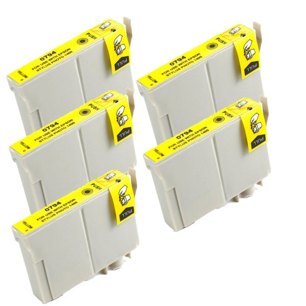 Epson T079420 (T0794) High Yield Yellow Replacement Ink Cartridge PhotoStylus Photo 1400 1430 (Pack of 5)