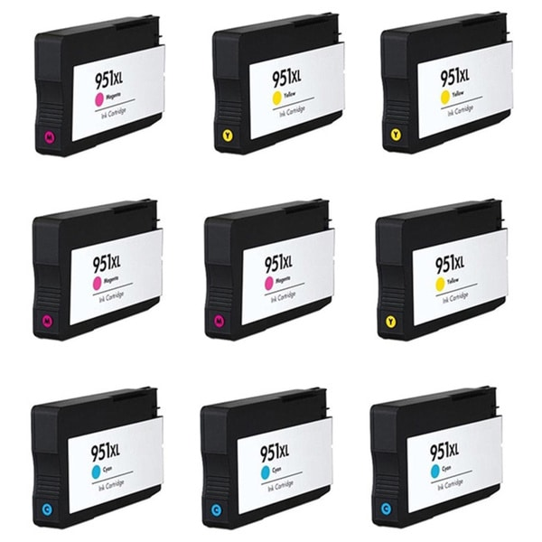 HP 951XL Cyan Yellow Magenta Compatible Inkjet Cartridge For HP OfficeJet Pro 8100 HP OfficeJet Pro 8600 (Pack of 9)