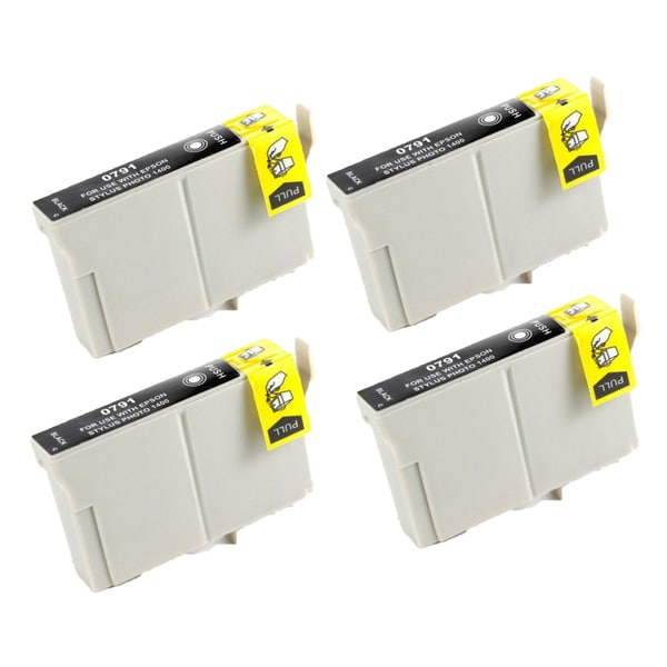 Epson T079120 (T0791) High Yield Black Replacement Ink Cartridge PhotoStylus Photo 1400 1430 (Pack of 4)