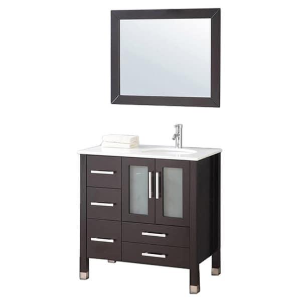 Mtd Vanities Sweden 36 Inch Single Sink Bathroom Vanity Set Right Side With Free Mirror And