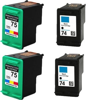 HP74 - Black HP75 - Color Compatible Inkjet Cartridge For Deskjet D4200 Officejet J5700 Photosmart C4200 (Pack of 4)